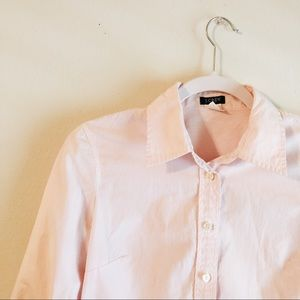 J. Crew Pink Striped 3/4 Sleeve Button Down